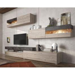 Tempo Kondela Obývací stěna, DTD laminovaná, dub nelson / beton, IOVA