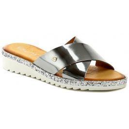 Black 272193 stříbrné dámské letní pantofle, 40