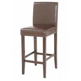 Tempo Kondela Židle barová, text. kůže PU / dřevěné nohy, tmavě hnědá, MONA NEW
