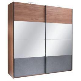Tempo Kondela Skříň s posuvnými dveřmi, ořech / grafit, 200x219, Rekato