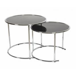 Tempo Kondela Konferenční stolek, chrom / černé sklo, MANUEL