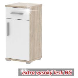 Tempo Kondela Spodní skříňka, dub sonoma/bílá vysoký lesk, Lessy LI 03