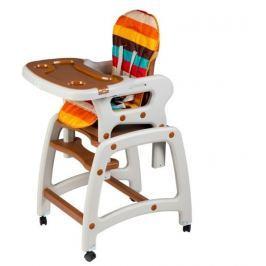 ECO TOYS Jídelní stoleček, houpačka  3v1 - hnědý