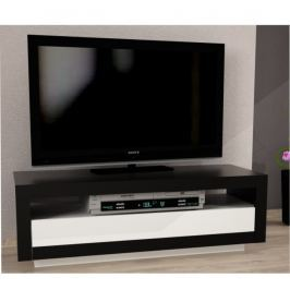 Tempo Kondela TV stolek s vyklápěcí zásuvkou, černá / bílá, AGNES