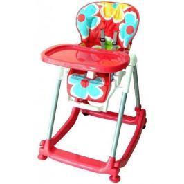 BABY MIX Jídelní stoleček  - červený s kytičkami