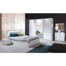 Tempo Kondela Ložnicový komplet (skříň+postel 160x200+2 x noční stolek), bílá / vysoký bílý le