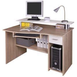 Tempo Kondela PC stolek, dub sonoma/bílá, PLUTO
