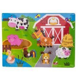 EURO BABY Dřevěné zábavné puzzle vkládací se zvukem  - farma