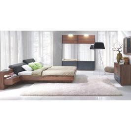 Tempo Kondela Ložnicový komplet (skříň + postel 160x200 s 2 nočními stolky), ořech / grafit, R