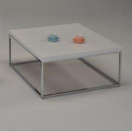 Tempo Kondela Konferenční stolek bílá / extra vysoký lesk HG, chrom, Natanel