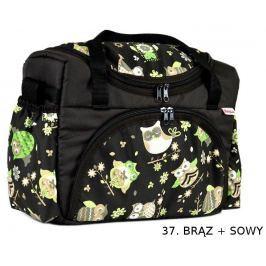 taška na pleny S2 čokoládová + sovy