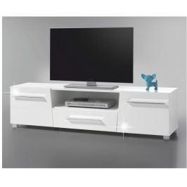 Tempo Kondela RTV stolek, DTD laminovaná, bílá extra vysoký lesk HG, STRAGY