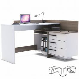Tempo Kondela PC stůl, L/P, rohový, třízásuvkový, tmavý dub/bílá, TALE 484879