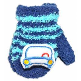 YO ! Zimní kojenecké  froté rukavičky se šňůrkou YO - granátové/tyrkysové - autíčko, 12cm rukavičky