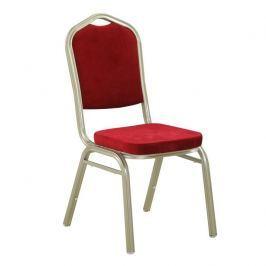 Tempo Kondela Židle, stohovatelná, látka bordo / champagne rám, ZINA 2 NEW