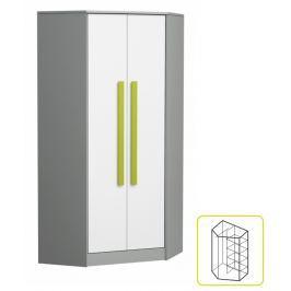 Tempo Kondela Věšáková skříň s policemi - rohová, šedá / bílá / zelená, PIERE P02