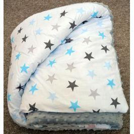 Velká deka na hraní 100/150 šedá + modré hvězdy