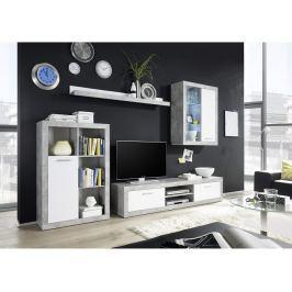 Tempo Kondela Obývací stěna, bílá / beton, KLARK