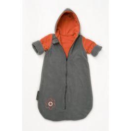 Babyvak Spacák fleecový s rukávy šedá/oranžová