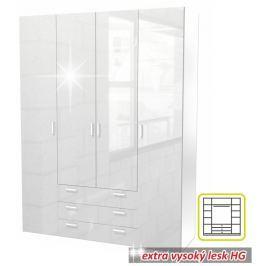 Tempo Kondela Skříň, 4 - dveřová, bílá extra vysoký lesk HG, GWEN 70429