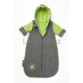 Babyvak Spacák fleecový s rukávy šedá/zelená