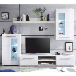 Tempo Kondela Obývací stěna, bílá extra vysoký lesk / čiré sklo, HENRI