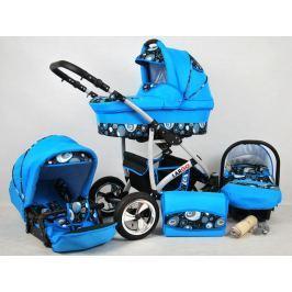 Kočárek babylux Largo modrá s bublinami , trojkombinace