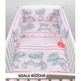 Pěti dílný set 100*135 peřinka+ polštář+povlečení + mantinely do postýlky růžová koala