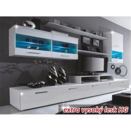 Tempo Kondela Obývací stěna, LED s osvětlením, bílá / bílá extra vysoký lesk HG, LEO