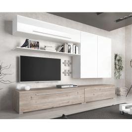 Tempo Kondela Obývací stěna, MDF / DTD laminovaná, dub nelson / bílý HG, SOFI