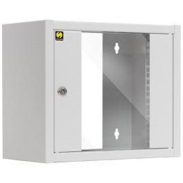 NetRack Závěsný datový rozvaděč 10''  6U/300 mm, barva popelavá, skleněné dveře