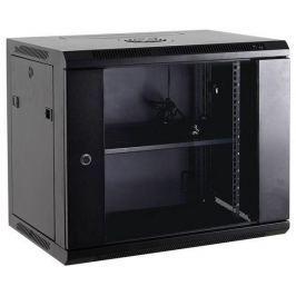 NetRack wall/hanging cabinet 19'',15U/450 mm,glass door,grey,remov. side pan.