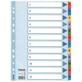 ESSELTE Zesílené kartonové rozlišovače Mylar, mix barev, A4, 1-12,