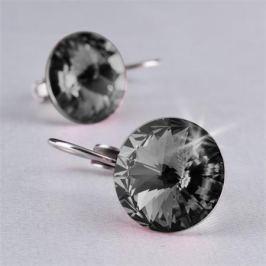 ART CRYSTELLA Náušnice, závěsné, MADE WITH SWAROVSKI ELEMENTS, černý diamant, 12 mm, ART CRY