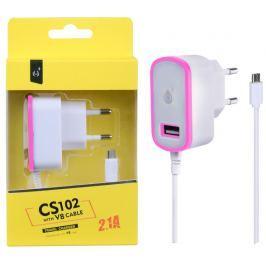 ALIGATOR Nabíječka PLUS MicroUSB s USB výstupem 5V/2,1A, růžová