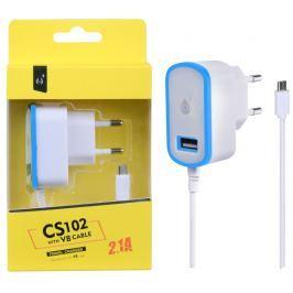 ALIGATOR Nabíječka PLUS MicroUSB s USB výstupem 5V/2,1A, modrá
