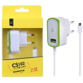 ALIGATOR Nabíječka PLUS MicroUSB s USB výstupem 5V/2,1A, zelená