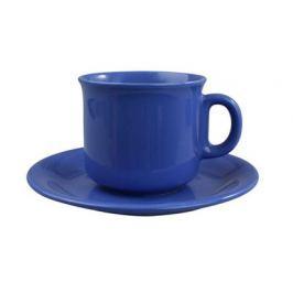 VETRO-PLUS BANQUET Šálek na čaj s podšálkem keramický 230 ml, modrý