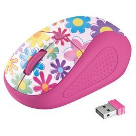 TRUST myš  Primo Wireless Mouse - pink flowers