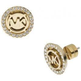Michael Kors Pozlacené luxusní náušnice s logem a krystaly MKJ2941710