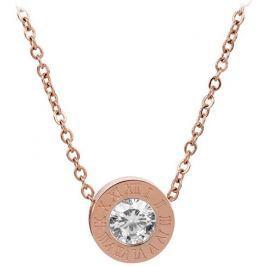 Troli Růžově pozlacený ocelový náhrdelník s třpytivým přívěskem