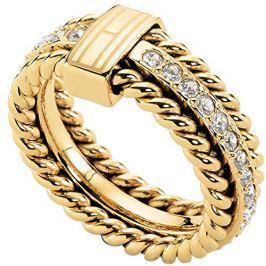 Tommy Hilfiger Nádherný pozlacený prsten s krystaly TH2700602, 58 mm