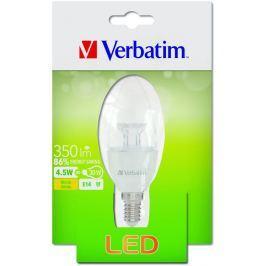 Verbatim LED žárovka , E14 4,5W 350lm (30W), typ B, čirá, teplá bílá