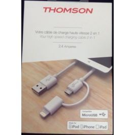 Thomson CL nabíječe  kab.MicroUSB+Lightning 2.4A 1m