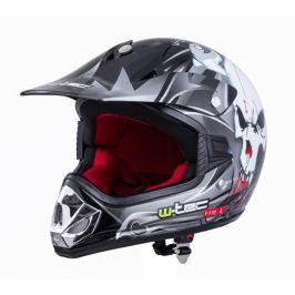 Dětská moto přilba W-TEC V310 Barva Black Skull, Velikost S (49-50)