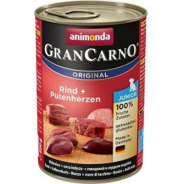 Animonda dog konzerva Gran Carno Junior hovězí/krůtí srdce - 400g
