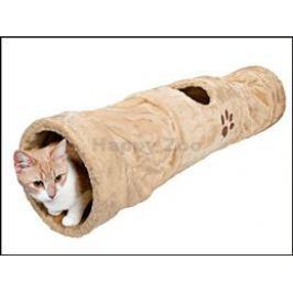 Plyšový tunel pro kočky béžový - 22x100cm