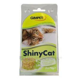 GIMPET SHINYcat TUŇÁK/kočičí tráva - 2x70g