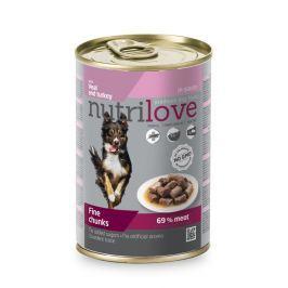 NUTRILOVE pes konz. kousky 415g - TELECÍ/KRŮTA (při koupi 10ks dostanete 2ks GRATIS)