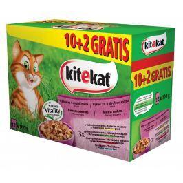 KITEKAT kapsa VÝBĚROVÉ menu v želé 12ks - 4 druhy masa Krmivo a vitamíny pro kočky